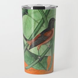 Orioles with Catalpa Tree, Natural History, Vintage Botanical Collage Travel Mug