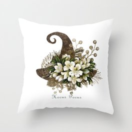 Witch Hat- White Flowers- Hocus Pocus Throw Pillow