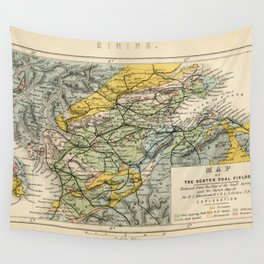 Scotch Coal Fields Vintage Map Wall Tapestry