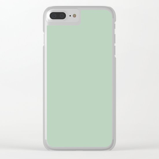 Simply Pastel Cactus Green Clear iPhone Case