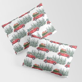 Corgis in car in winter forest Pillow Sham
