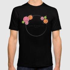 Floral - Ladies Mens Fitted Tee MEDIUM Black