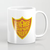 super heroes Mugs featuring STRANGE SUPER HEROES by yhello designer