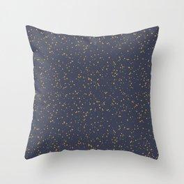 Speckles I: Dark Gold on Blue Vortex Throw Pillow
