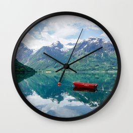 Red boat on lake Wall Clock