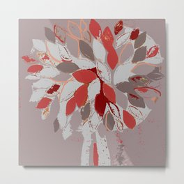 Tree, felted mixed media textile fiber art in gray and red Metal Print