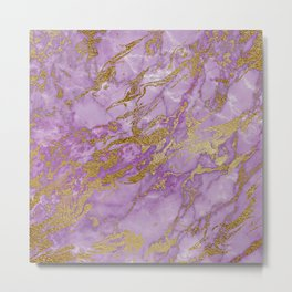 Gold Glitter and Ultra Violet Marble Agate Metal Print