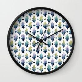 indigo blue leaves pattern Wall Clock
