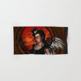Wonderful steampunk lady with wings and hat Hand & Bath Towel