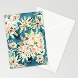 RUCKUS Navy Peach Watercolor Floral Stationery Cards