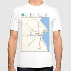 Milwaukee Transit System Map White Mens Fitted Tee MEDIUM