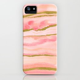 Pink watercolor marble with gold foil iPhone Case