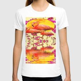 TROPICAL FLAMINGOS FUCHSIA FLORAL MOON ART T-shirt