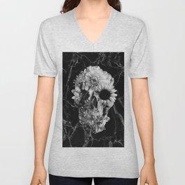 Floral Marble Skull Unisex V-Neck