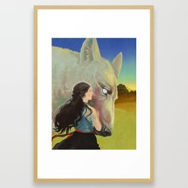Giant Wolf Guardian and Elven Princess Framed Art Print