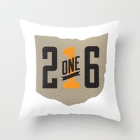 cleveland Throw Pillows featuring Cleveland, Ohio by That's My Hood