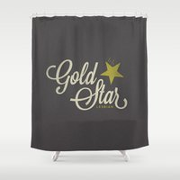 lesbian Shower Curtains featuring Gold Star Lesbian by ElekTwick