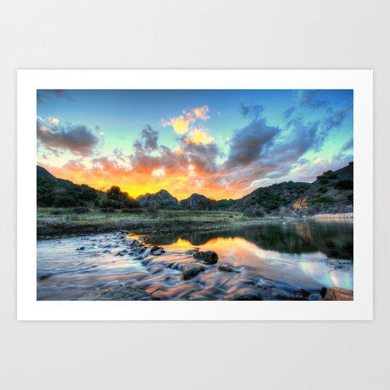 Sunset Landscape #river Art Print