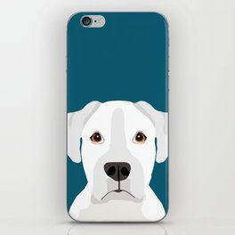 White Boxer pet portrait cute dog lover rescue dog lover Boxers portrait dog breeds iPhone Skin