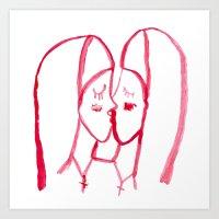 kissing nuns Art Print