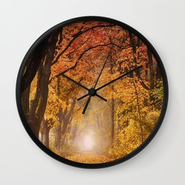 Autumn Fall Forest Path -  Nature Landscape Photography Wall Clock