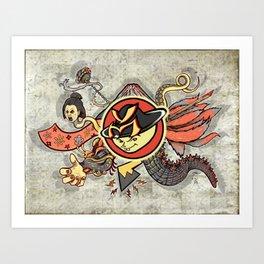 YM Japanese Tails Art Print