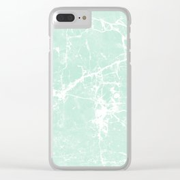Modern vintage mint white elegant marble Clear iPhone Case