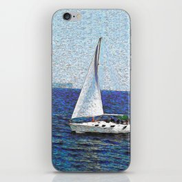 Summer / Sea / Yacht / Blue oil painting iPhone Skin