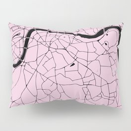 London Pink on Black Street Map Pillow Sham