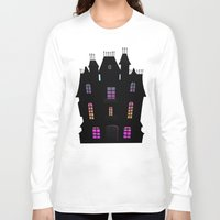 haunted mansion Long Sleeve T-shirts featuring Haunted Silhouette Rainbow Mansion by rainbowdreams