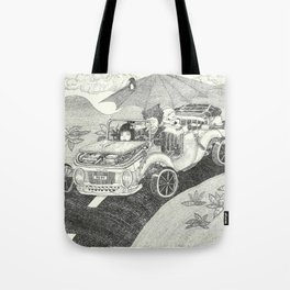 Doot car with women, character, and umbrella, driving Tote Bag