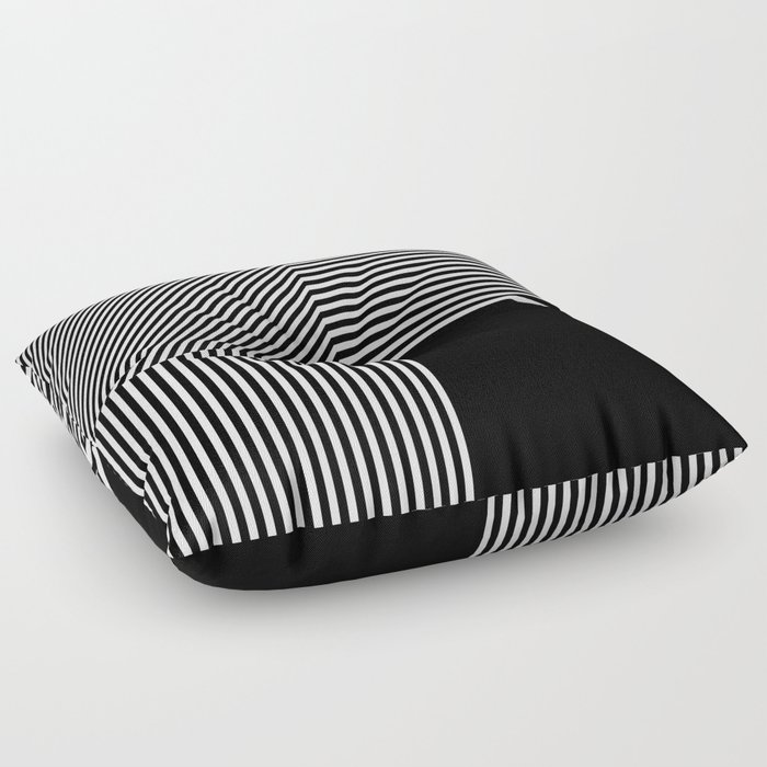 Geometric Abstraction Black And White Floor Pillow