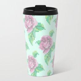 Cross Stitch Rose Pattern in blue Travel Mug