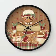 Gingerbread Country Christmas Wall Clock