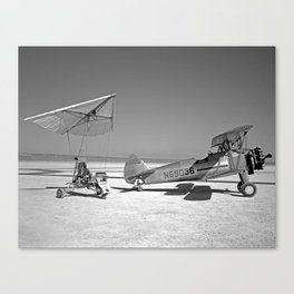 Paresev 1-A on Lakebed with Tow Plane Canvas Print
