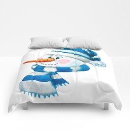 Blue Snowman 01 Comforters