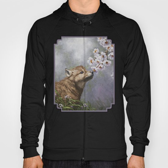Wolf Pup and Spring Blossoms Hoody
