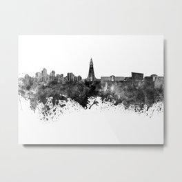 Reykjavik skyline in black watercolor Metal Print