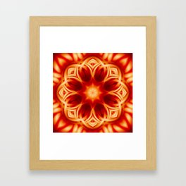 Fire Lotus Mandala Framed Art Print