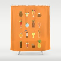 tiki Shower Curtains featuring Tiki Drinks by Sara Showalter