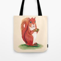 squirrel Tote Bags featuring Squirrel by Yana Elkassova