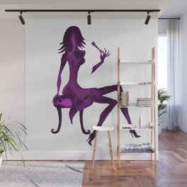 DIVA WITH make up brush - PAINTED - Gorgeous VIOLET Wall Mural