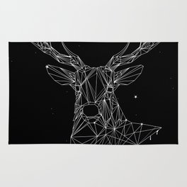 Deer with magnificent antlers of fine lines Rug