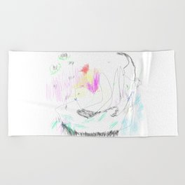 abstract whale Beach Towel