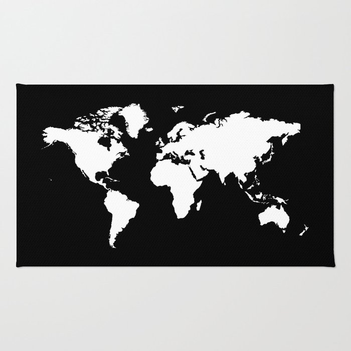 Black And White World Map Rug: Black White World Map Rug By Haroulita