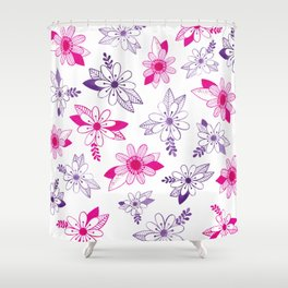 Daisy Ink Illustration Shower Curtain