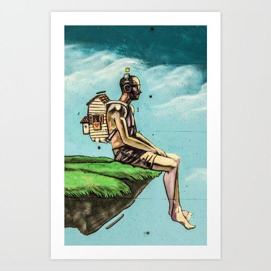 Man on the rock 5 Art Print