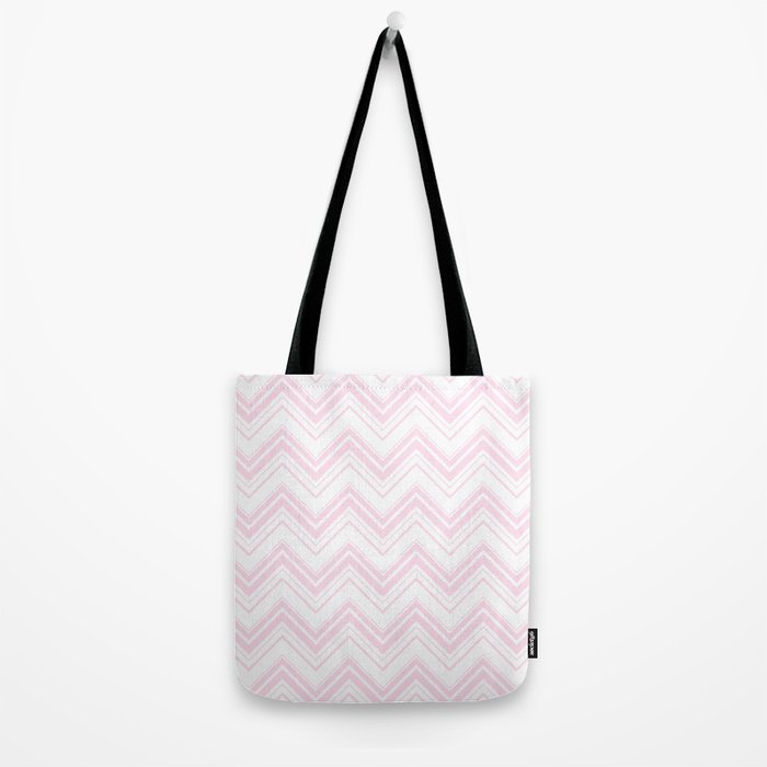 Chevron Zig Zag pattern pink on white on #Society6 Tote Bag