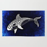 killer whale Area & Throw Rugs featuring Killer Whale Illustration by Limitless Design