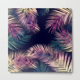 Palm Leaves watercolor at night Metal Print